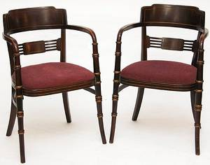 165 Pair Regency Style Walnut Arm Chairs Circa 1920s