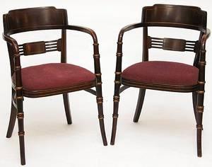 165 Pair Regency Style Walnut Arm Chairs Circa 1920s