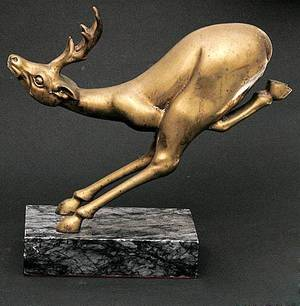 208 Art Deco Bronze Sculpture Deer at High Speed