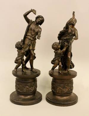 Pair of Late 19th C Spelter Sculptures