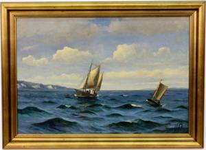 Willy Bille Danish Marine Oil on Canvas Painting