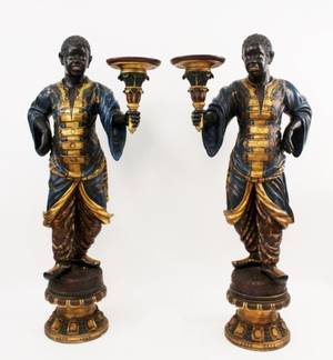 Pair of Large Hand Painted Wood Blackamoors
