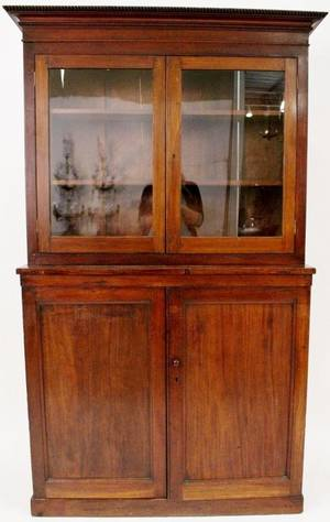 19th Century Mahogany Stepback Flatwall Cupboard