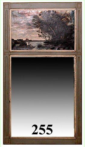 255 Painted Trumeau Mirror w19th20th Century Paintin