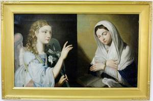 Continental School Annunciation Oil on Canvas