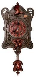307 European Art Nouveau Hunting Clock Cast Iron