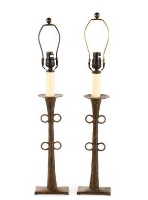 Pair of Arts and Crafts Style Bronze Table Lamps