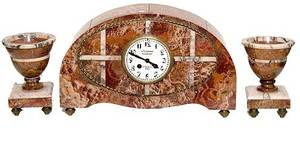 202 French Art Deco Rouge Marble Clock Garniture