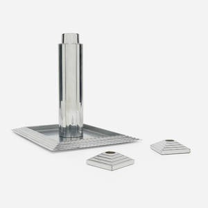 Norman Bel Geddes   Skyscraper cocktail shaker Manhattan tray and pair of candleholders