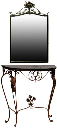 327 Wrought Iron Marble Top Console Table w Mirror