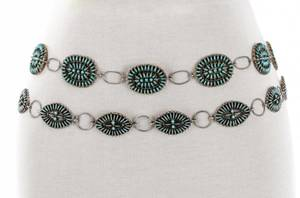 Two Zuni Sterling  Petit Point Turquoise Belts