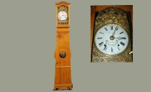215A French Provincial 19th C Pine Pendulum Tall Clock
