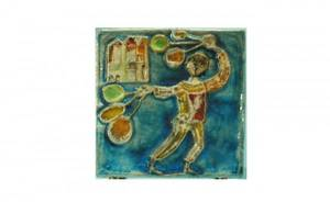 257 Italian Glazed Pottery Relief Plaque of a balloon
