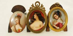 1282 GROUP OF THREE MINIATURE PAINTINGS ON PORCELAIN P