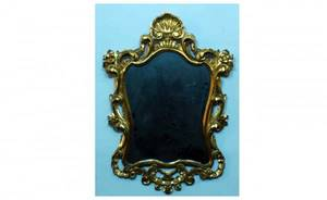 1407 Shaped Rococo Wall Mirror with Pierced Gilt Gesso