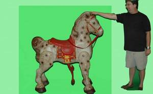 1401 Antique English HandPainted Metal Hobby Horse on