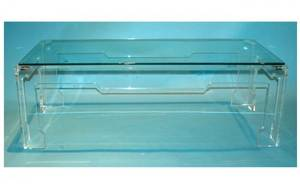 1391 Contemporary Lucite Coffee Table with inset plate