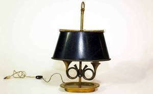 391 Brass Table Lamp with Double Bugle Motifs Lig