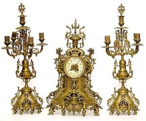 232 20C French Bronze Clock Garniture