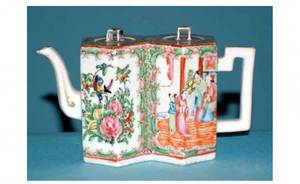 1437 Chinese Famille Rose Double Lidded PanelledTea Po