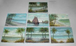 1348 Group of 7 oil paintings