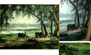 1458 J D Castro 20th Century Cattle Grazing oil on
