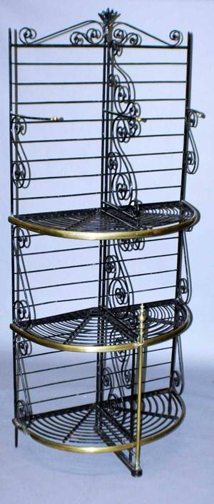 27 LARGE BRASS AND IRON BAKERS RACK