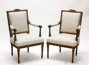 1026 PAIR OF LOUIS XVI STYLE GILTWOOD FAUTEUILS