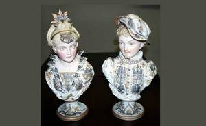 29A Pair of Continental Bisque Busts European