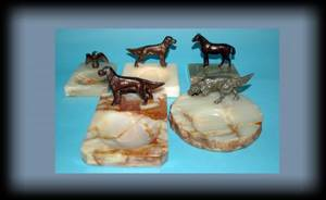 1011 Grouping of Four Vintage Dog Metal Figural Mounte