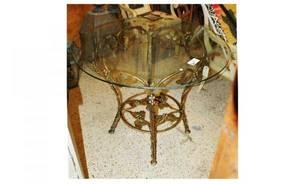 369 Iron Grape Motif Glass Top Table 400600
