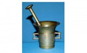 1011 Brass Mortar and Pestle Mortar is 4  inches hig