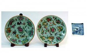 1037 Pair Antique Chinese Rose Medallion Plates