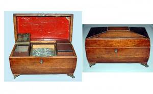 1049 English 19th C Mahogany Regency Tea Caddy