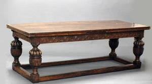 1075 ELIZABETHAN STYLE OAK REFECT DINING TABLE