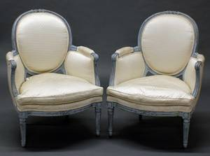 73 PAIR OF LOUIS XVI STYLE PAINTED BERGERES