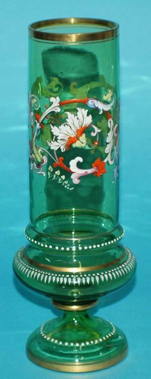 157 ENAMEL DECORATED GREEN GLASS VASE
