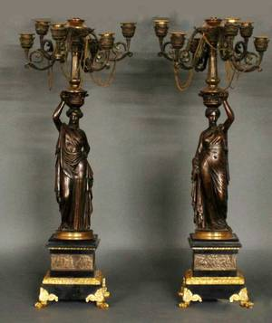 80 PAIR OF PATINATED AND GILT BRONZE FIGURAL SIX LIGHT