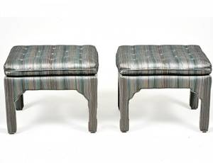 PAIR OF FULLY UPHOLSTERED SCHOENBECK OTTOMANS