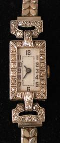 1095 PLATINUM AND DIAMOND LADYS WRISTWATCH