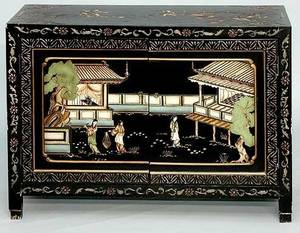 278A Chinese Black Lacquer Chest W Handpainted Doors