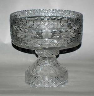 248 CUT GLASS PUNCH BOWL AND STAND