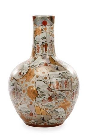 Large Macau Porcelain Bottle Floor Vase 20th C