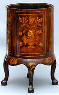 395 19th Century Floral Inlaid Pot Commode