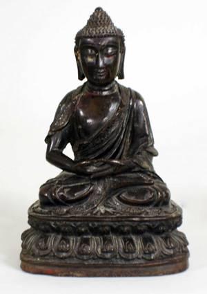 1057 PATINATED BRONZE FIGURE OF BUDDHA