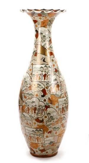Large Macau Porcelain Floor Vase with Ruffled Rim