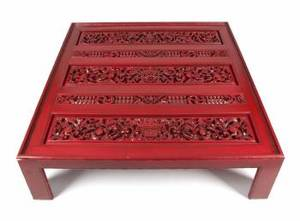 BURT REYNOLDS MODERN RED LACQUER LOW TABLE
