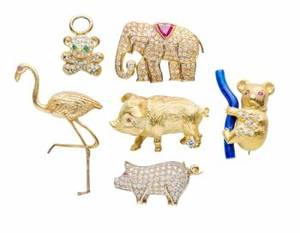 BARBARA BACH ASSORTED GROUP OF ANIMAL PINS