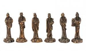 Set of 6 Asian Diminutive Bronze Immortals