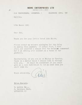 BRIAN EPSTEIN SIGNED LETTER